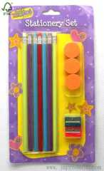 pencil and sharpener stationery set