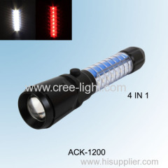 2014 New! CREE R2 + 8X 0.2W white LED+8X 0.2W red LED Multi Function High Power Flashlight ACK-1200