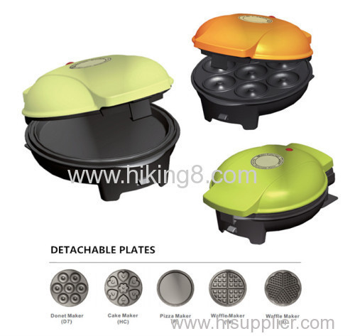 5 detachable plates for selection snack maker