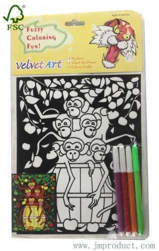 coloring velvet art poster with monkey