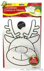 Christmas colour-in masks of 3 design