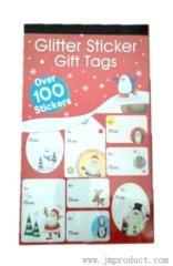 glitter xmas funny tag sticker