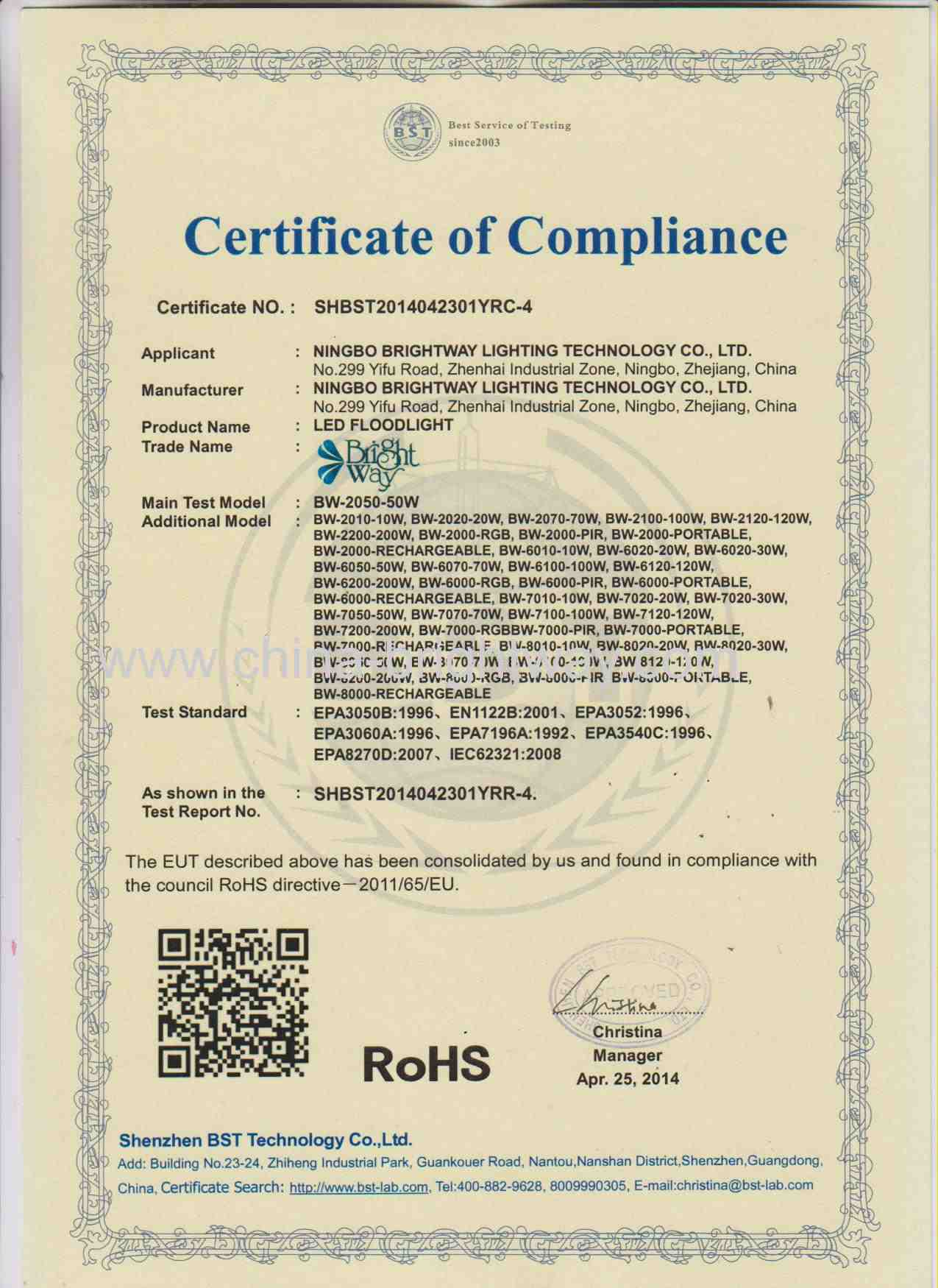 RoHS for New Model of LED Flood Light