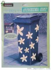 flower garbage bin sticker
