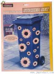sunflower rubbish bin stickers