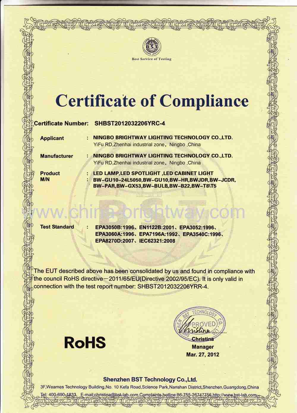 RoHS compliant for LED indoor lights