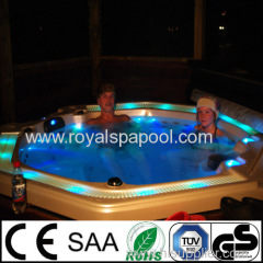 Hot tub outdoor spa with overflow