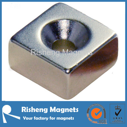 Permanent Magnetics Block 35 x 4 x 2mm with Countersunk Hole most powerful grade rare earth magnets N52