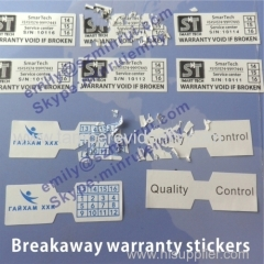 Custom Adhesive Warranty VOID If Broken Destructible Label With Company Logo and Sequence Numbers