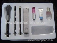 Plastic packaging insert tray for cosmetic