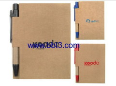 Eco promotional pocket notebook with eco ballpen set