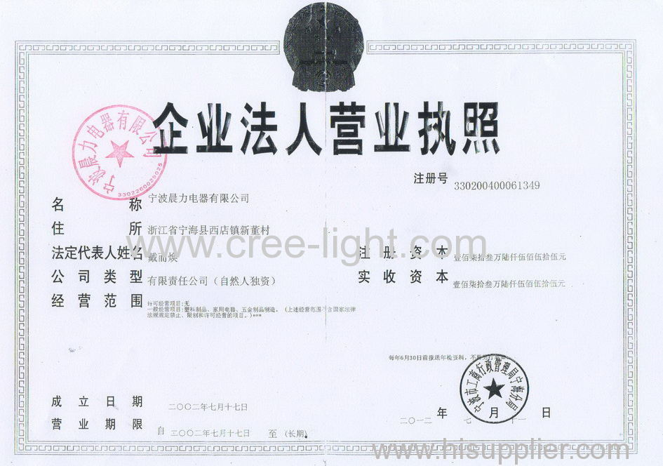 Business License-NINGBO CHENLI ELECTRIC CO.,LTD