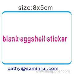 Blank brittle eggshell sticker custom shap &color&size