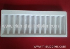 Plastic packaging tray for medicine vial