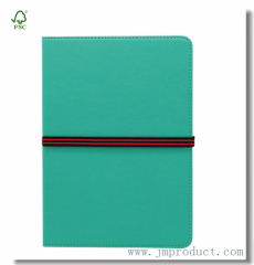 hardback leatherette ruled diary notebook with elastic band
