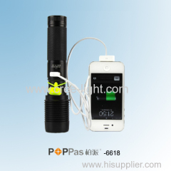 Power Bank For IPhone 4s /5/5s 10W High Power CREE XM-L T6 LED Rechargeable Flashlight POPPAS-6618