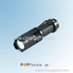 Classic Design For Promotion Gift Mini Telscopic CREE XR-EQ5 LED Flashlight POPPAS-X1