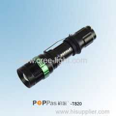Rotary Dimming Aluminium CREE XR-E Q5 3W LED Tactical Flashlight POPPAS- T820