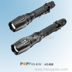 Classic 500lumens 10w CREE XM-L T6 Focus Aluminium LED Rechargeable Flashlight POPPAS-V2-858