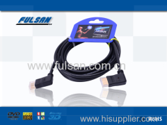 factory wholesale high speed 90 degree HDMI cable 19pin male to male cable