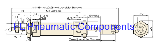 MAJ Type Stainless Steel Pneumatic Mini Cylinder