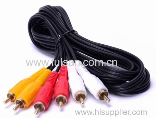 factory price AV male 3 RCA to 3RCA cable with 24K Gold Plated