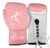 Ladies Pink Leather Boxing Gloves Velcro Cuff