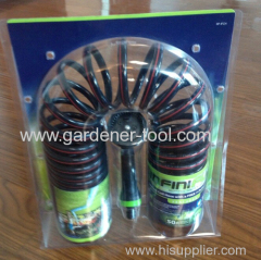 50FT Garden Coil Hose Pipe With Plastic Spray Gun