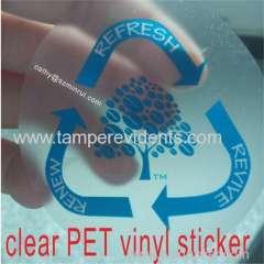 transparent label PVC sticker