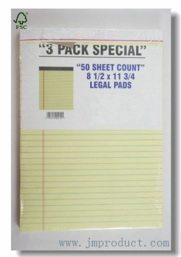 yellow paper wide ruled legal pad 8-1/2*11-3/4
