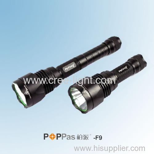 Waterproof IPX7 CREE XM-L T6 600Lumens Brightest Aluminum Tactical LED Flashlight POPPAS-F9
