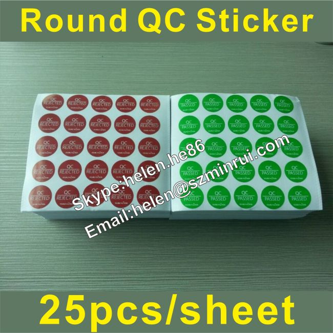 Removable adhesive no residue 15mm diameter round qc sticker labelred qc passed and green qc rejected sticker custom manufacturers and suppliers in china