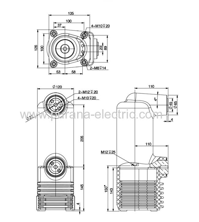 10kv  1250a  31 5ka vacuum circuit breaker embedded poles