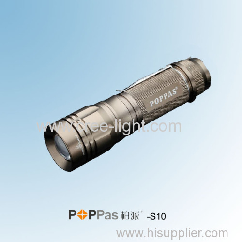 400 lumens Rechargeable 10W CREE XM-L T6 High Power Aluminum ZOOM LED Torch POPPAS-S10