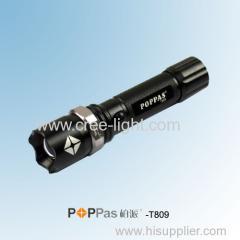 3 Watt Police Use CREE XR-E Q5 Rotary Dimming Aluminum Tactical or Camp Black LED Light using 18650 Battery POPPAS-T809