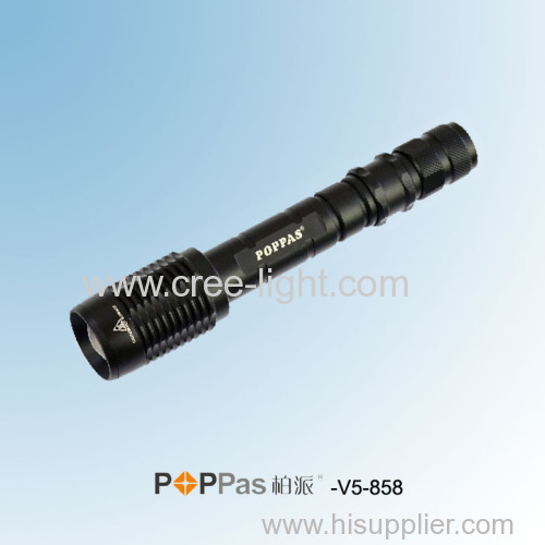 2 x 18650 Rechargeable 10W CREE XML-T6 LED Telescopic ZOOM High Power Aluminum Hunting Torch POPPAS-V5 -858