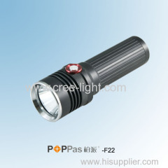 350lumens CREE XM-L U2 LED rechargeable reflector LED flashlight POPPAS- F22