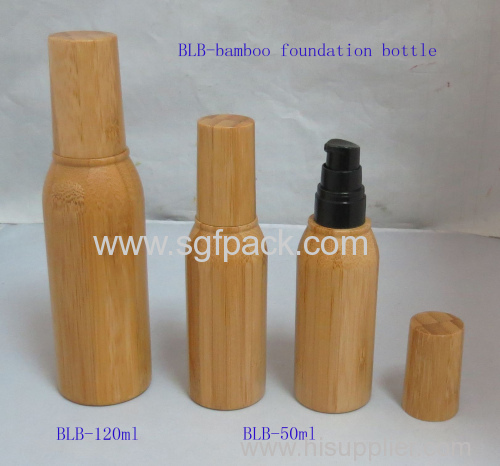 bamboo lotion bottle cosmetic package makeup package plastic pump bottle with bamboo