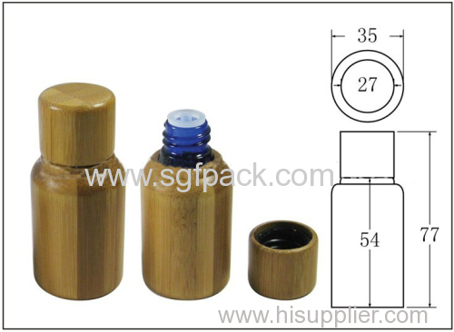 bamboo oil bottle with 15ml glass inner bottle and plastic cap and insert personal care