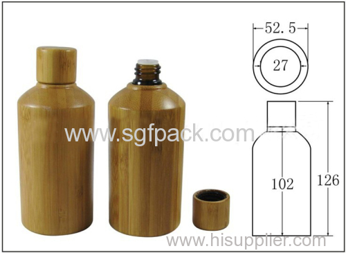 bamboo oil bottle 100ml glass bottle lotion bottle with bamboo cap bamboo cosmetic container