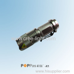 Promotion! CREE XR-E Q5 Mini Telescopic Aluminium ZOOM LED flashlight POPPAS-X1
