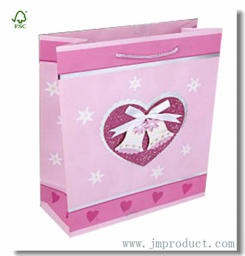 Large Size Lovely Pink Heart Wedding Gift Bag With Ribbon Handles