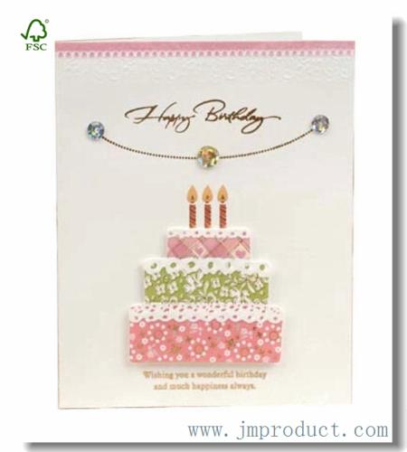 Handmade Happy Birthday Card With Crystal