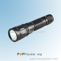 5 Brightness levels Rechargeable CREE XM-L T6 High Power Black Aluminum Reflector LED Flashlight POPPAS-F12