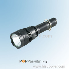 10W 600lumens Brightest Rechargeable Black Aluminum CREE XM-L T6 5 Function Tactical LED Torch POPPAS-F18