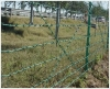 Green PVC-coated barbed wire green barbed wire fence