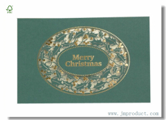 Green Kraft Paper Stencil Cutting Christmas Card