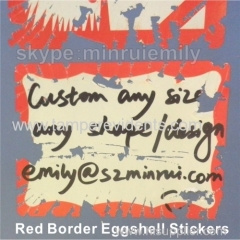 Writable Red Border Eggshell Stickers