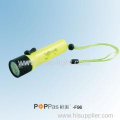 4XAA 120lumens Yellow CREE XR-E Q5 IPX8 Waterproof Diving LED Flashlight POPPAS-F96