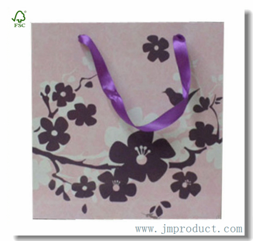 Large Trendy Floral Gift Bag With Ribbon Handles